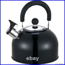 2.5L Whistling Kettle Camping Fishing Gas Electric Portable Kettle Black New