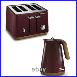 2pc Morphy Richards Aspect Electric 1.5L Cordless Kettle/4 Slice Toaster Maroon