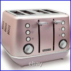 2pc Morphy Richards Evoke Kitchen 1.5L Jug Kettle/4 Slice Toaster Rose Quartz