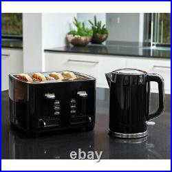 2pc Westinghouse 1.7L 2200W Cordless Kettle with 1750W Wide 4 Slice Toaster Black