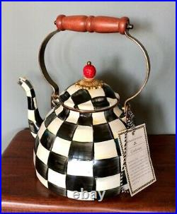 BRAND NEW MacKenzie-Childs Courtley Check Enamelware 2-quart Kettle with 2 Cups