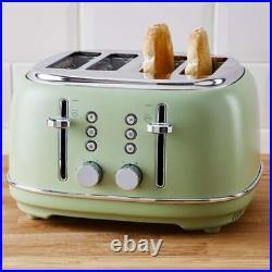 Beautiful Green Kettle & Toaster 4 Slice Matching Kitchen Appliance SET
