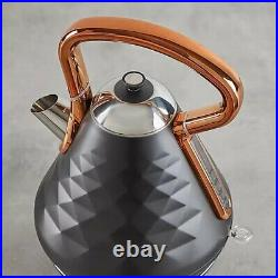 Beautiful Kettle & 4 Slice Toaster Set Black and Copper Stainless Steel -Modern