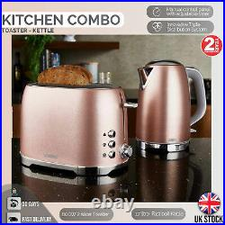 Beautiful Kettle and 2 Slice Toaster Matching Sparkling Rose Gold Kitchen Set