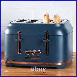 Beautiful Navy & Copper Kettle & 4 Slice Toaster Matching Kitchen Appliance Set