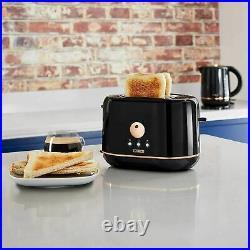 Black/Rose Gold Jug Kettle 2 Slice Toaster Microwave & Canisters Kitchen Set UK