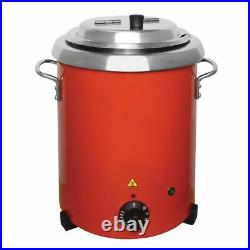 Buffalo Soup Kettle in Red with Handles Uses Bain Marie Style Wet Heat 5.7 L