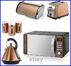 COPPER Kettle Toaster Microwave Canisters x 3 & Bread Bin Matching Kitchen Set