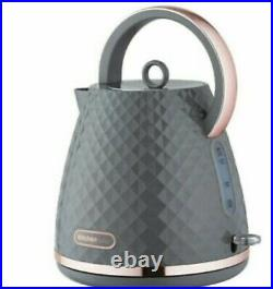 DIAMOND Grey & Rose Kettle + 4 slice Toaster Set Quirky new Kitchen Appliance