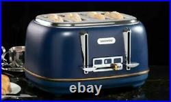 Daewoo 1.7L Kettle & 4 Slice Toaster Set Appliance Brand New Blue / Gold