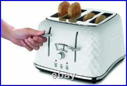 De'Longh Brillante Kettle and 4 Slice Toaster Stylish White Breakfast Set New