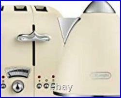 De'longhi Argento Flora 3Kw 1.7L Cordless Kettle & 4 Slice Toaster Set BEIGE