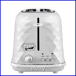 Delonghi Brillante Toaster 2 Slice & Cordless 1.7L Kettle Jug White Electric Set