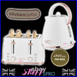 Diamond Finish White & Rose Gold Individual Kettle Or Toaster Or Set Of Two