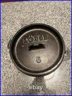 Discontinued LODGE #6 Cast Iron Camp Dutch Oven 1Qt 3 Leg Kettle with Lid