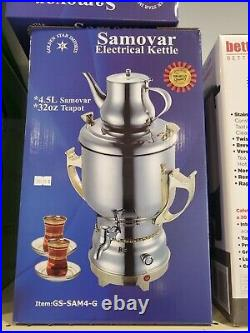 Electric Samovar Tea Kettle 4.5L Main Pot With 32 Oz Teapot Gold Handle