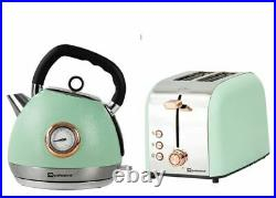 Epoque Electric Kettle Temperature Display & Toaster Set Green