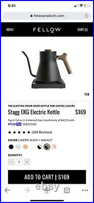 Fellow 1202WN90 Stagg EKG Electric Pour Over Kettle, Black With Maple Handle