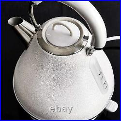 Glitter Sparkle Bling 1.7L White Pyramid Kettle Steel Kettle Cordless Electric