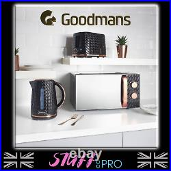 Goodmans Black and Rose Gold Textured Effect Microwave Kettle Toaster Set SALE