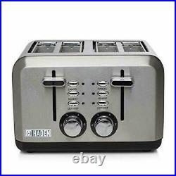 Haden Stainless Steel Perth 1.7L Kettle & 4 Slice Toaster Set Retro Kitchen