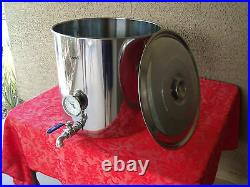 Jarhill 18/0 Stainless Steel Brew Kettle with Thermometer & Valve Avail in 4 Sz
