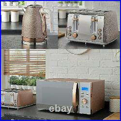 Jug Kettle 4 Slice Toaster And 800W Microwave Kitchen Set Sparkle Rose Gold NEW