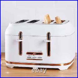 KETTLE 4 Slice Toaster & Microwave Matching Kitchen Set White/Rose Gold Stylish