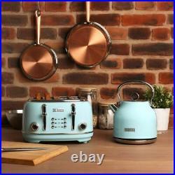 KETTLE & 4 Slice Toaster Set Turquoise Heritage Farmhouse Style Traditional NEW
