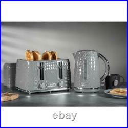 Kettle 4 Slice Toaster Bread Bin Canisters x 3 Roll Holder & Mug Tree Set GREY