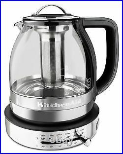 KitchenAid KEK1322SS 1.5L 1.5 Liter Electric Glass Tea Kettle Stainless Steel