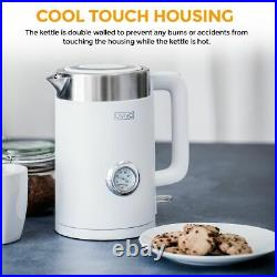 LIVIVO Electric Kettle Cool Touch Thermometer Fast Boil Jug 3000W 1.7L BPA Free