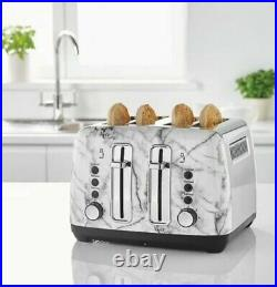 Marble Shade 4 Slice Bread Toaster Stainless Steel Kettle Set Kitchen Matching