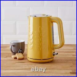 Modern Ochre Kettle & 4 Slice Toaster Matching Yellow Kitchen Appliance SET