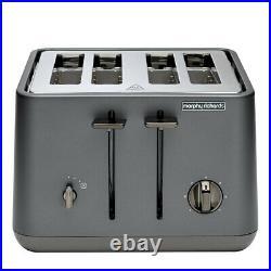 Morphy Richards Aspect Titanium Chrome Base 4 Slice Toaster withCordless Kettle
