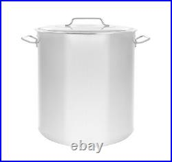 NEW 120 QT Quart Polished Stainless Steel Stock Pot Brewing Kettle Large with Lid