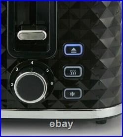 NEW-DESIGN DIAMOND Beautiful Black & Chrome Kettle And 4 slice Toaster Set
