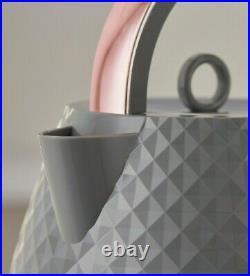 NEW-DESIGN DIAMOND Beautiful Grey & Rose Gold Kettle And 4 slice Toaster Set