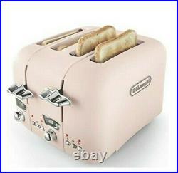 NEW De'Longhi Argento Flora 1.7L Cordless Kettle & 4 Slice Toaster Set Pink