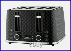NEW Diamond Design Beautiful Black & Chrome Kettle And 4 slice Toaster Set