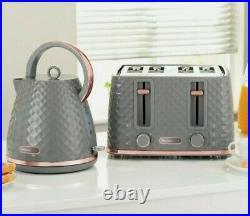 NEW Diamond Design Beautiful Grey & Rose Gold kettle and 4 slice Toaster set