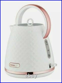 NEW Diamond Design Beautiful White & Rose Gold Kettle And 4 slice Toaster Set