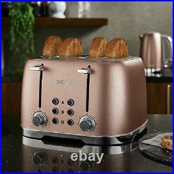 NEW Rose Gold Kettle & Toaster Set4 Slice Toaster LED Light up Kettle