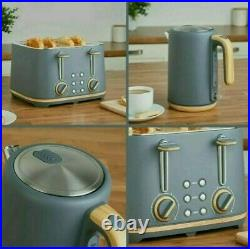 NEW Scandi-inspired 4 slice toaster and kettle Set Grey & Wood effect multi