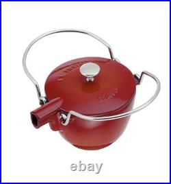 NIB Staub Cast Iron 1.0 qt Round Tea Kettle Tea Pot with Lid CHERRY RED