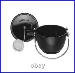 NIB Staub Cast Iron 1.0 qt Round Tea Kettle Tea Pot with Lid MATTE BLACK