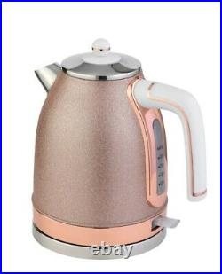 New Gorgeous Sparkle Rose Kettle And Four Slice Sparkle Rose Gold Toaster