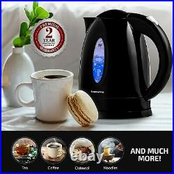 Ovente Electric Water Kettle 1.7L LED Indicator 1100W BPA-Free Black KP72B