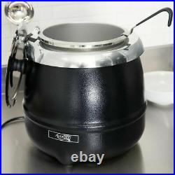 Round Food Soup Kettle Pot Warmer Electric Commercial Restaurant Equipment Black