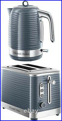 Russell Hobbs Inspire Electric Jug Kettle 1.7L and 2 Slice Toaster Set GREY